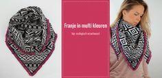 Zelfmaakidee #omslagdoek met #franjeband in multi kleuren.