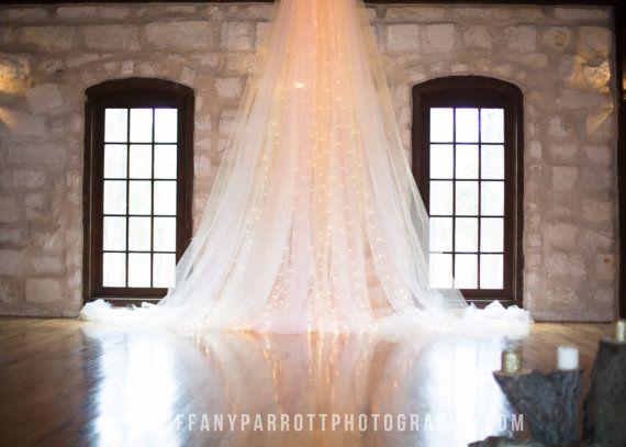 Hecho a mano Telón de fondo Ceremonia Matrimonial, tul y Contexto de las luces , Suave y decoraciones weding románticas, boda Telón de fondo