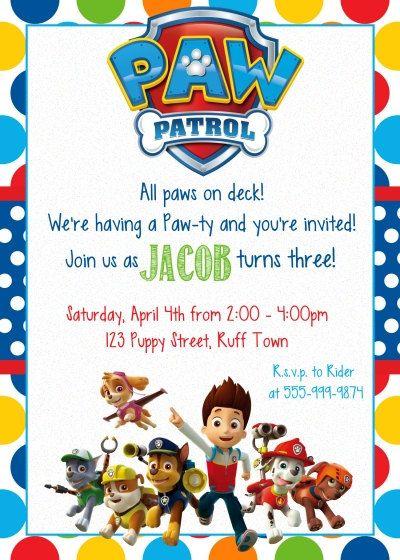 Genial tarjeta para celebración de Paw Patrol. #invitaciones #PatrullaCanina
