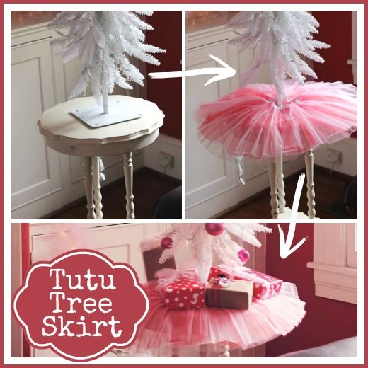 A tutu tree skirt - what a cute, simple solution to jazz up a Christmas tree.  Perfect for a classroom, kids tree or an office too!