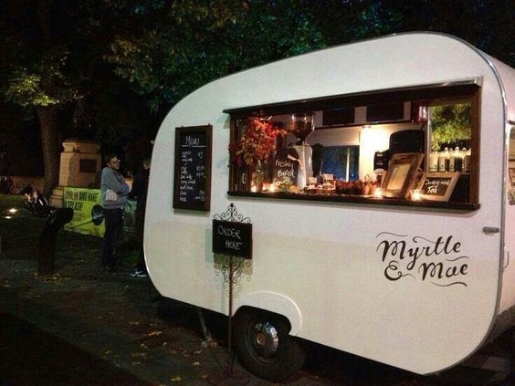 """This is a nice simplistic design on the outside and a colorful interesting interior. Mobile coffee stand. Last pinner said, """"Myrtle and Mae coffee truck"""""""