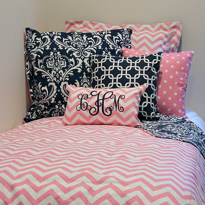 "Pretty in pink and trendy in pattern. Dorm Room Bedding Set Includes: Custom Pink Chevron T/TXL Duvet Cover 68"" x 90"" (Make It Reversible!) and a Custom Pink Chevron Standard Sham 20"" x 26"" SO SO SOOO CUTE!!!"