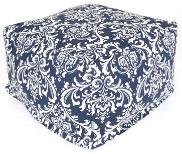 Sunbrella Indoor Fabric Navy and White French Quarter Large Ottoman - farmhouse - Ottomans And Cubes - Majestic Home Goods