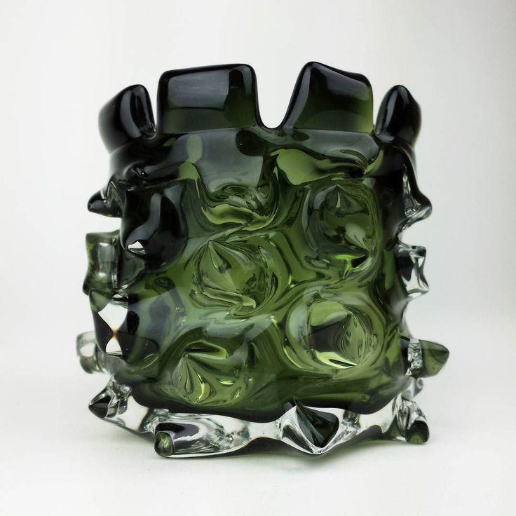 Vintage spiky cased art glass #brutalism #artglass #midcenturyartglass #spiked #brutalist