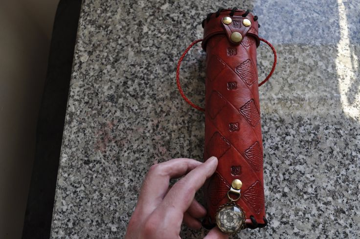 Red Celtic Scroll Tube Wolf Leather Wizard by ArchdeansMagicShop
