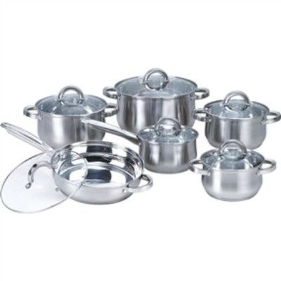 12-Piece Stainless Steel Cookware Set w/ Casseroles, Frying Pan, & Saucepan- Free Shipping