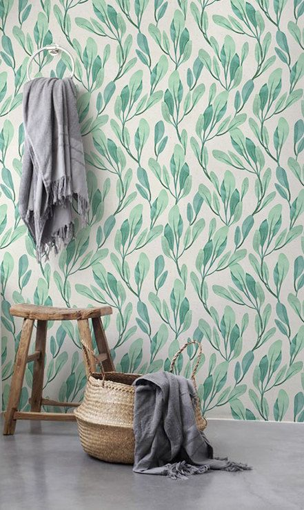 30% OFF from Watercolor leaves wallpaper, Botanical tempoarary wallpaper, Leaves wall decal, BW052