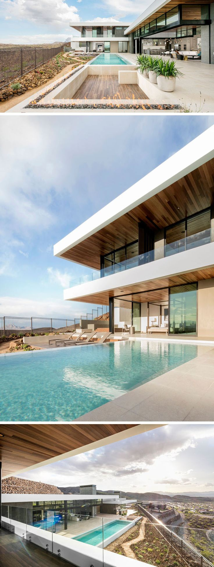 This modern house has a large outdoor entertaining area next to the swimming pool, while a sunken area perfect for a few couches is surrounded by an outdoor fireplace.