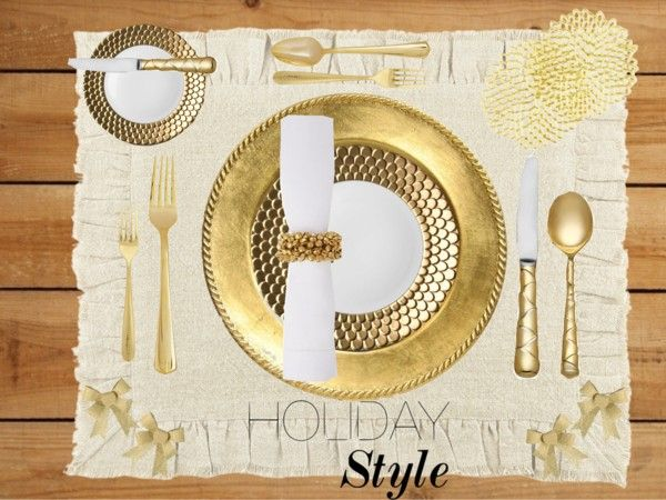 """""""Holiday Place-mat: Gold & White"""" by randomtwirler on Polyvore"""