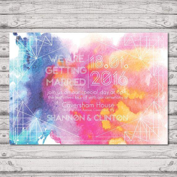 Watercolour Wedding Invitation - Print at Home File or Printed Invitations - Whimsical Watercolor Personalised Wedding Invite