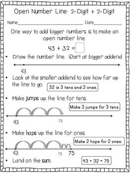 OPEN NUMBER LINE STRATEGY FOR ADDITION AND SUBTRACTION FREEBIE - TeachersPayTeachers.com