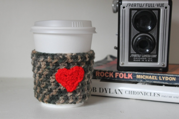 Valentine Gift Crochet Reusable Coffee Cup Sleeve