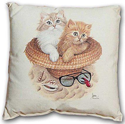 Cat Cushion-Beach Bums Hat Glasses Cat Kitten Gift Birthday T Shirt