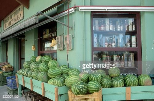Watermelons are on sale outside a store in Andritsaina in... #andritsaina: Watermelons are on sale outside a store in… #andritsaina