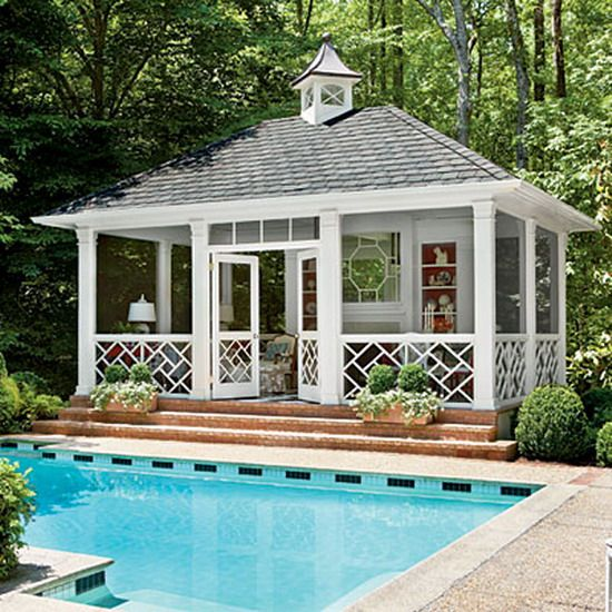 this cottage style swimming pool house provides a perfect place to rest after a long