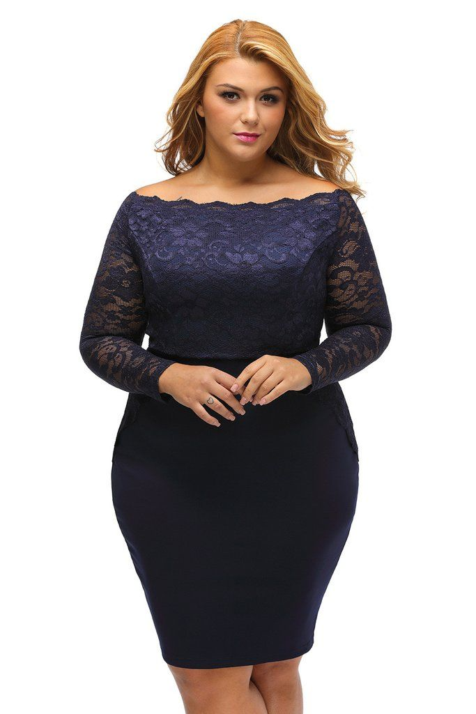 Navy Off The Shoulder Plus Size Lace Dress MB22901-5 – ModeShe.com