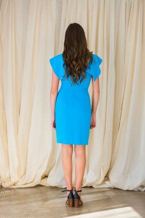 D.EXTERIOR CADY FRILL SLEEVE DRESS TURQUOISE