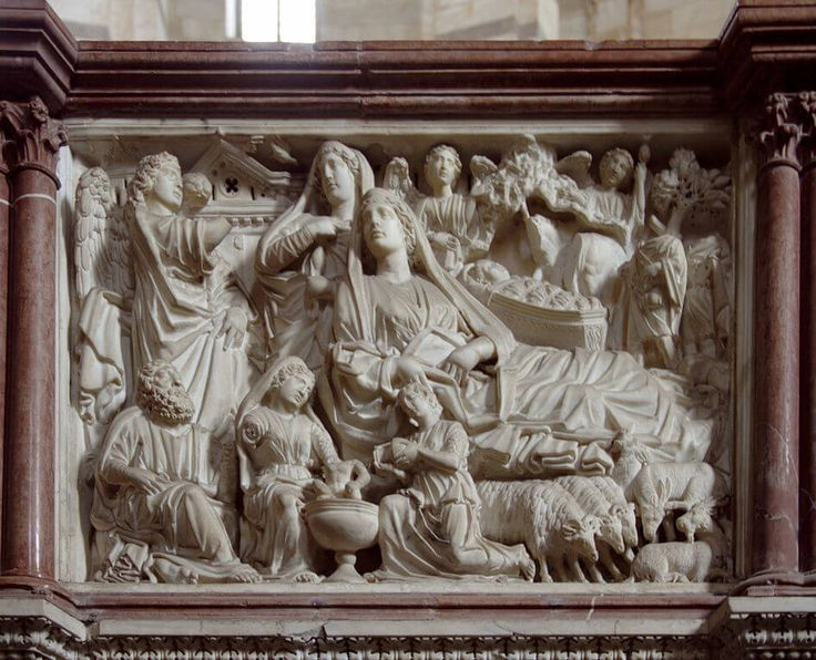 High relief, continuous narrative, hierarchy of scale. Likely, the very first work of Italian Renaissance sculpture, the baptistery pulpit in Pisa, Italy, by Nicola Pisano.