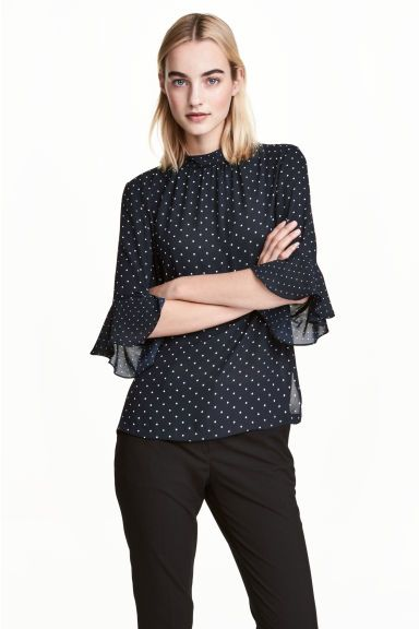 Blouse with flounced sleeves - Dark blue/Spotted - Ladies | H&M GB