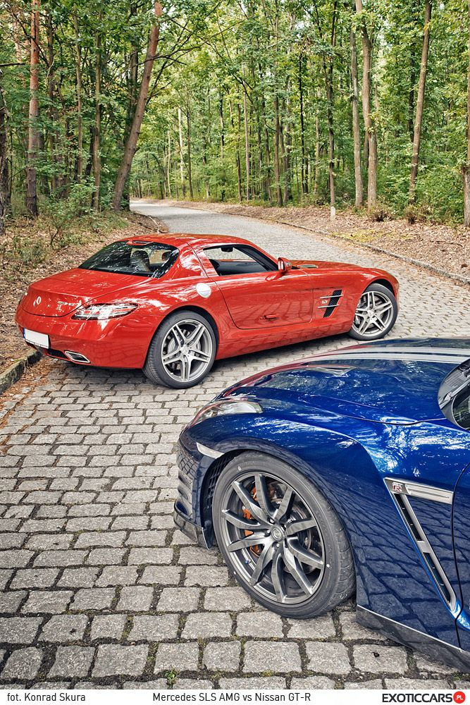 The clash of the titans: SLS vs GT-R http://exoticcars.pl/testy/mercedes-sls-amg-vs-nissan-gt-r/