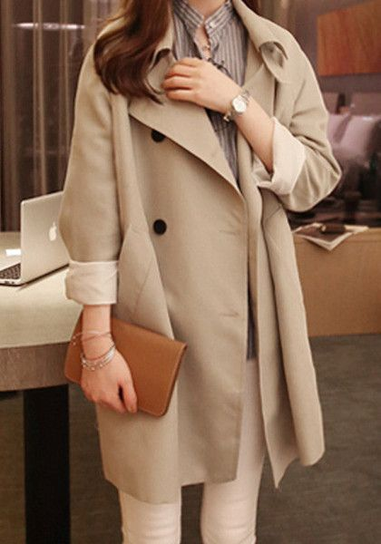 Khaki Fluid Trench Coat
