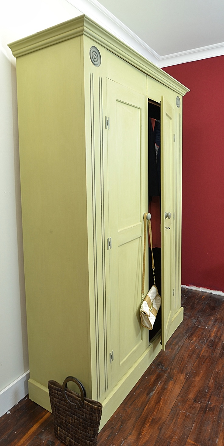 Here's a wardrobe with plenty of storage you can share!  A beautiful large double wardrobe painted in Annie Sloan Versailles with side and top detail