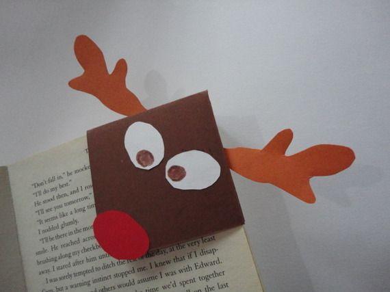 Marque pages en coin renne de Noël en papier (image)