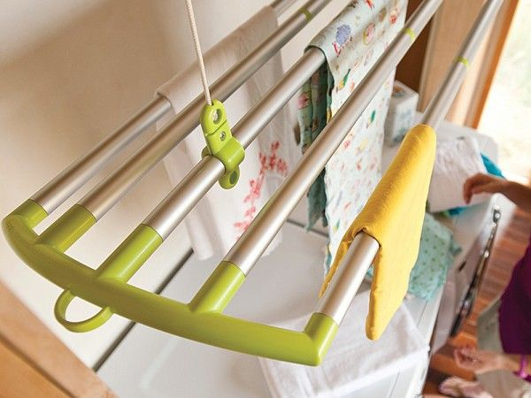 A perfect pair. LOFTi is a clothes-drying rack that suspends from the ceiling by an easy-to-use pulley system. DUO can hang virtually anywhere and can even break down into separate components that can attach onto the ends of LOFTi.