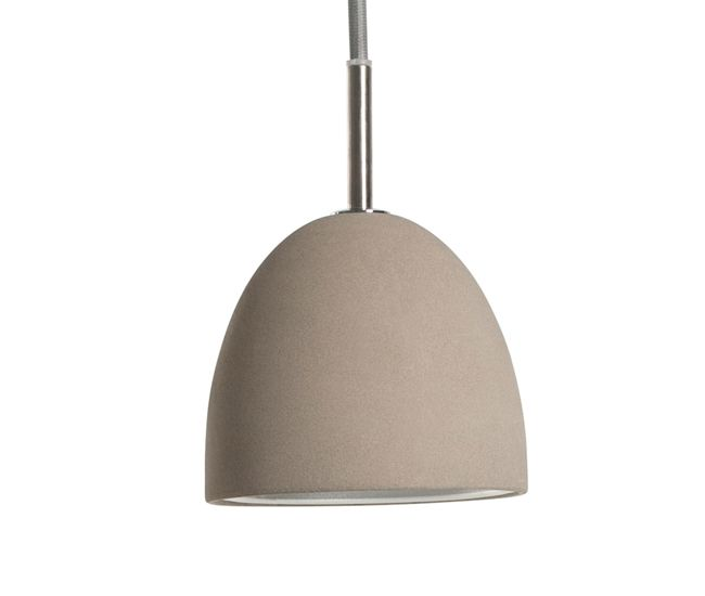The smooth finish and rounded shape of EQ3's Jonah light shows concrete's more refined side. The 40-watt pendant hangs from a grey fabric cord with a maximum length of 150 centimetres.