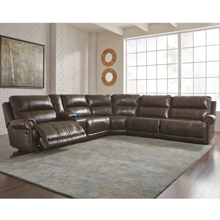 Ashley Dak Brown 3 Recliner Sectional with Nailhead Trim | Weekends Only Furniture and Mattress  sc 1 st  Pinterest : weekends only sectionals - Sectionals, Sofas & Couches