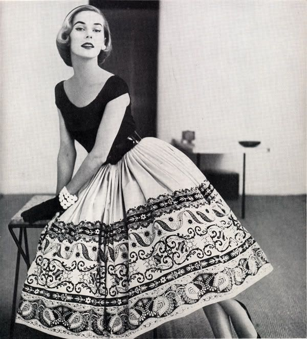 Model wearing a batik patterned skirt, 1952.