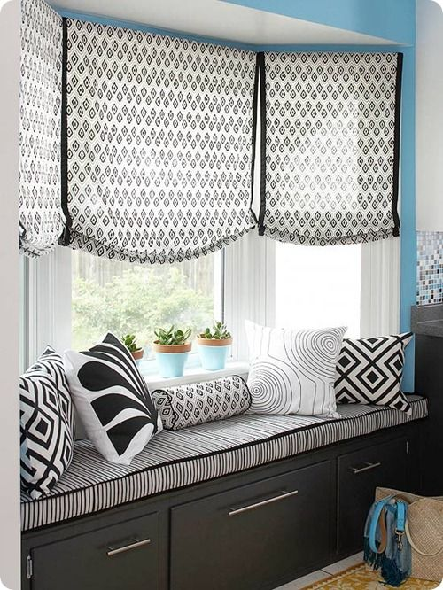 A window seat in the kitchen kitchen pinterest bay for Fabric shades for kitchen windows