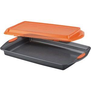 "Rachael Ray Nonstick Bakeware 10"" x 15"" Covered Cookie Pan, Gray with Orange Lid and Handles"