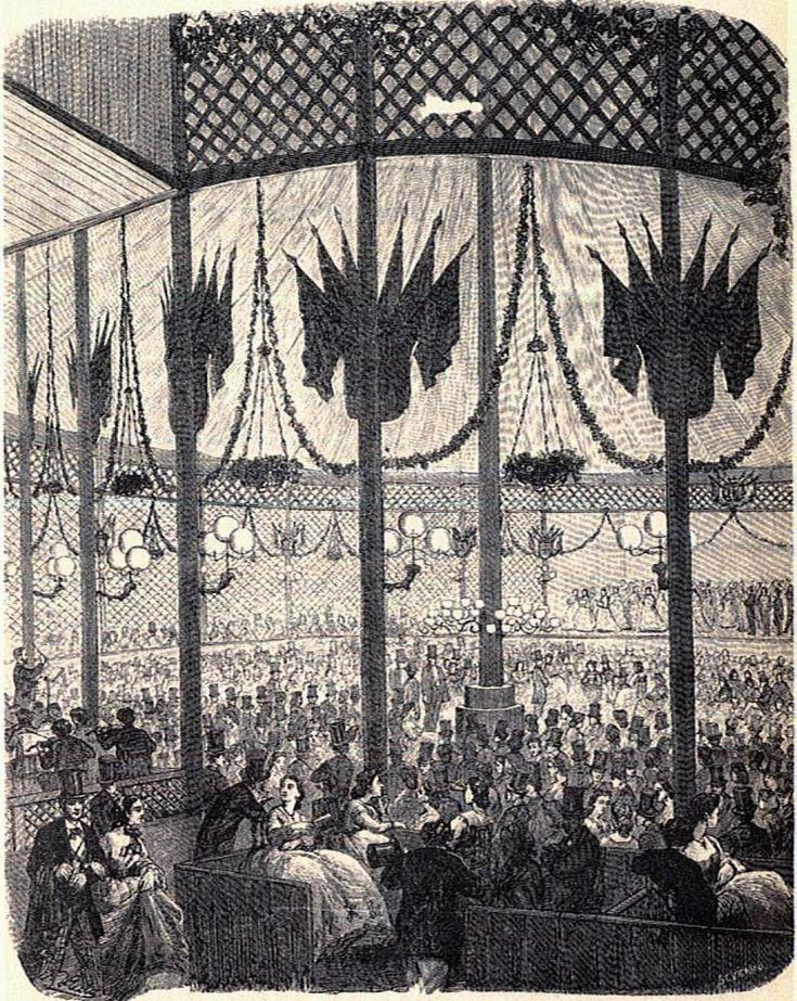 """Interior de la Salón de Conciertos y bailes de Los Campos Elíseos de Madrid. Ilustración de Severini publicada el 16 de julio de 1865 en el número 29 de """"Museo Universal""""."""