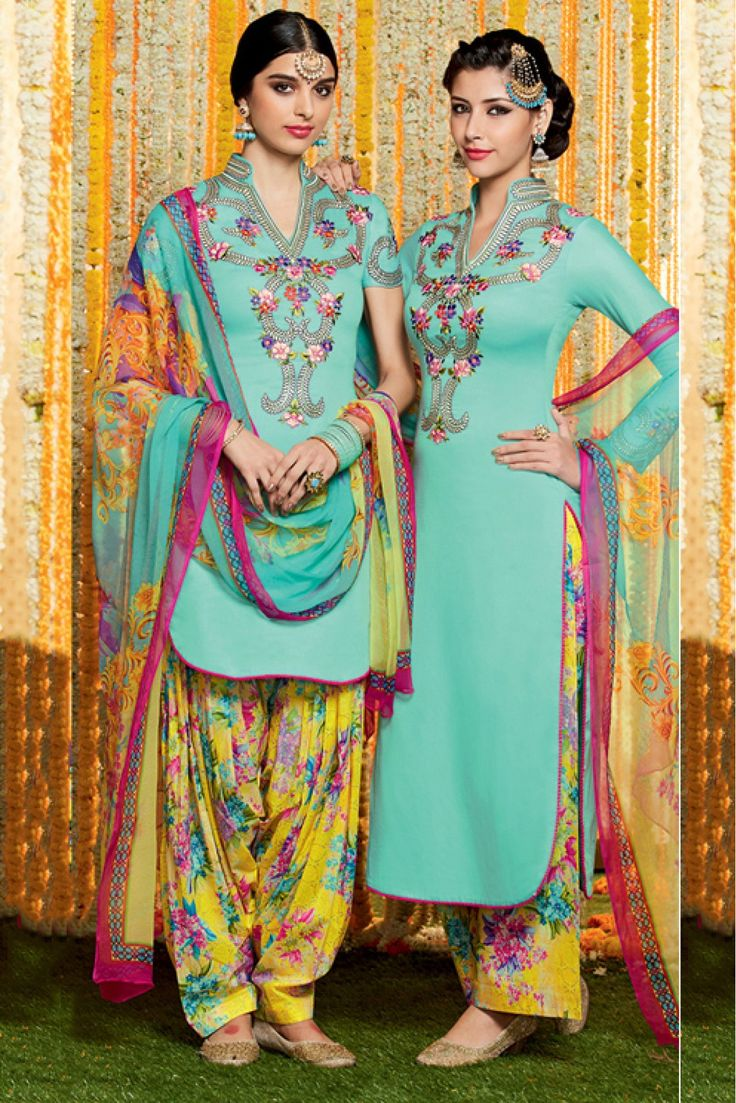 Sky Blue Colour Cotton and Satin Fabric Digital Printed Unstitched Patiala Suit Comes With Matching Dupatta and Bottom Fabric. This Suit Is Crafted With Digital Printed Work. The Suit Comes As a Unsti...
