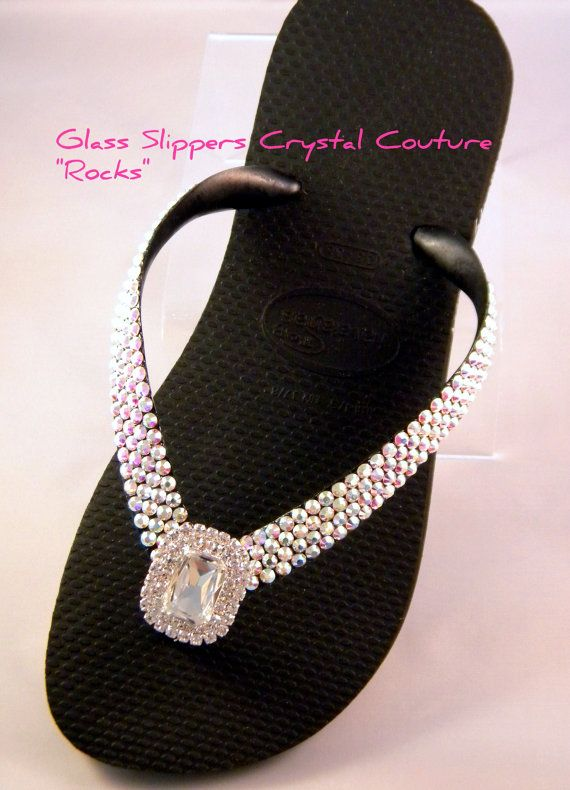 "Glass Slippers ""Rocks"" Silver Octagon Swarovski Crystal Havaianas Cariris Womens Beach Wedding Flip Flops Thong Shoes"