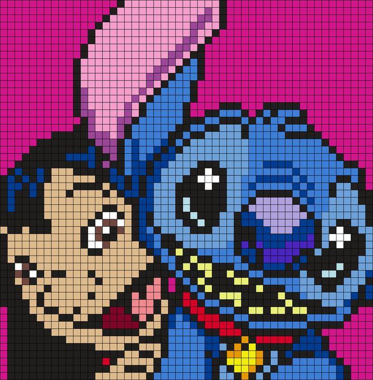 Lilo And Stitch (Square Perler Bead Pattern / Bead Sprite