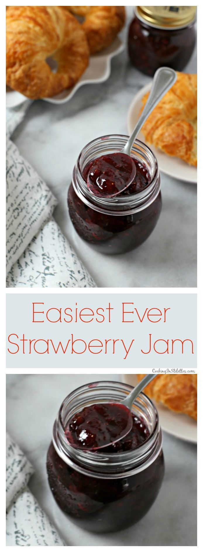 This Easiest Ever Strawberry Jam recipe from CookingInStilettos.com is perfect for brunch this weekend with just a few ingredients for a delicious fresh tasting strawberry jam!  |  Strawberry Jam | Refrigerator Jam | Freezer Jam | Strawberries | Made from Scratch   via @CookInStilettos