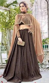 Brown Color Embroidered Silk Lehenga Cholie #silklehengacholiwithprice #lenghadress Manifest your women about town style dressed in this brown color embroidered silk lehenga cholie. This pretty attire is showing some remarkable embroidery done with lace and resham work. Upon request we can make round front/back neck and short 6 inches sleeves regular lahenga blouse also. USD $ 245 (Around £ 169 & Euro 186)
