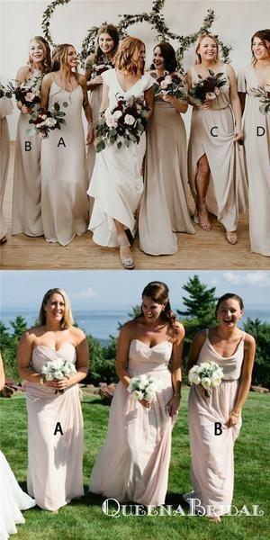caaac70a5cc6 Sheath Spaghetti Straps Light Champagne Long Bridesmaid Dresses, QB0804 # bridesmaid #bridesmaiddresses #longbridesmaiddresses