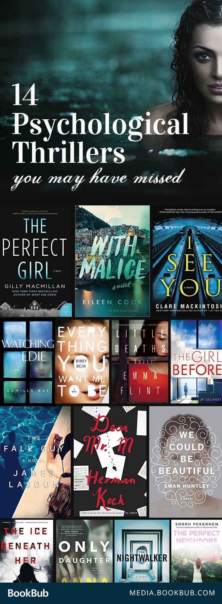 14 suspenseful books - psychological thrillers you probably haven't read, but should. If you loved Gone Girl or The Girl on the Train, this book list is for you!
