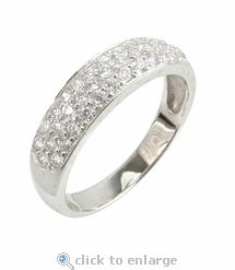 ziamond cubic zirconia pave round wedding band in 14k white gold the petite pave anniversary - White Gold Cubic Zirconia Wedding Rings