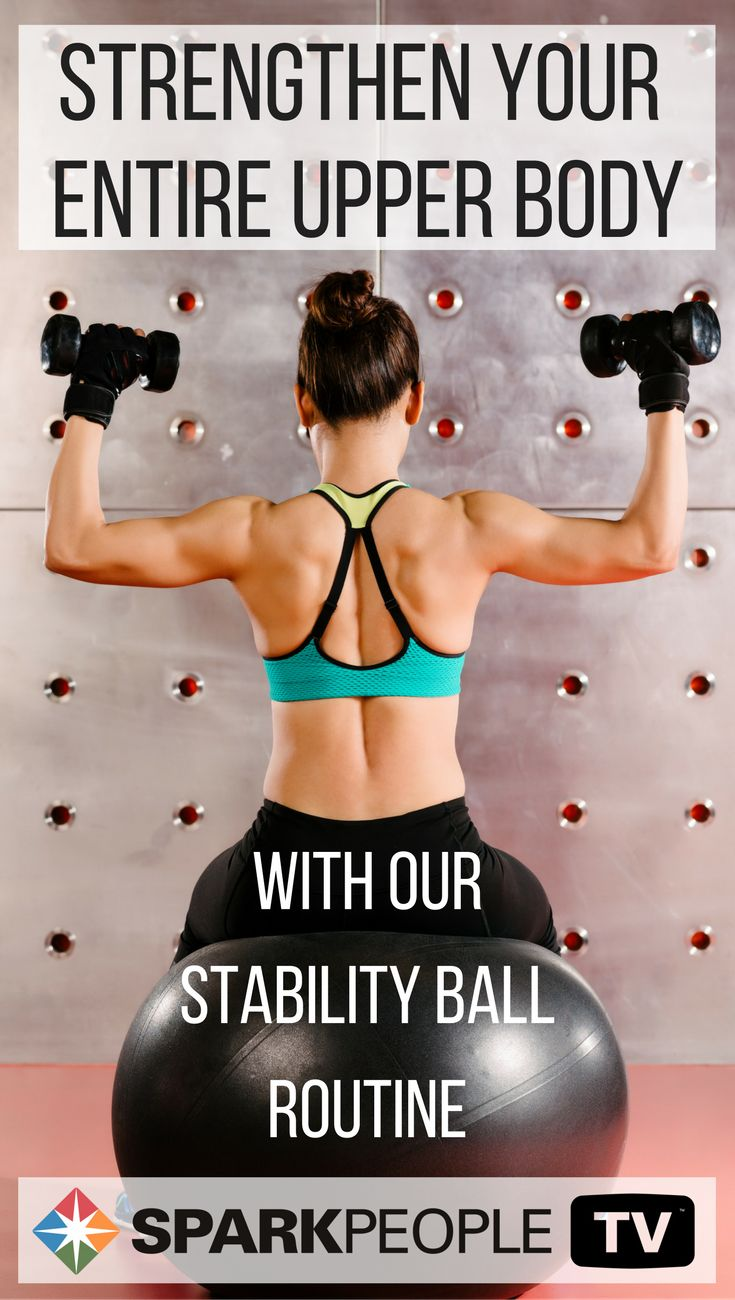 Feel the burn in your entire upper body with this stability ball routine. Short but so effective, you can strengthen your entire upper body with a stability ball and dumbbells.