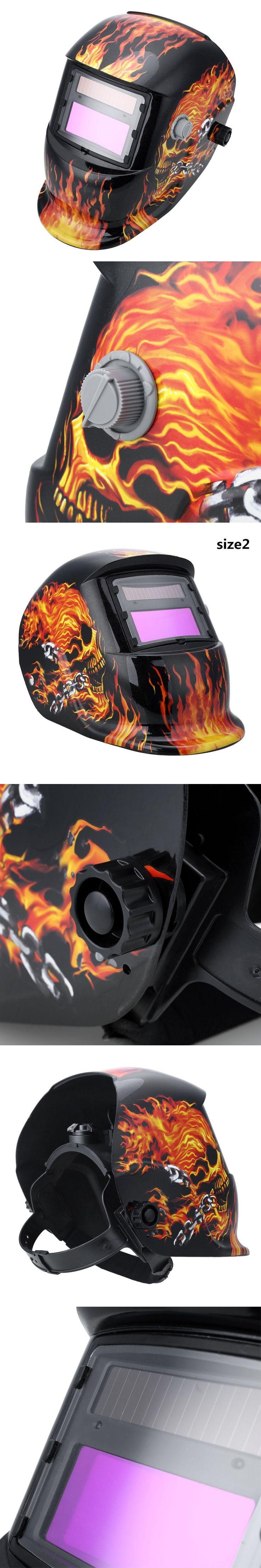 Fashional Solar Powered Auto Darkening Welding Helmet Protection For Grinding Lens Tig Welder Mask Flame Skull