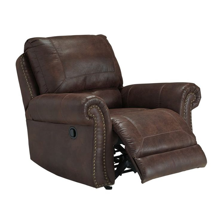 """Revel in the ruggedly handsome look of leather—at a fraction of the cost—with this stylish recliner. Inspired by the rough and tumble beauty of the Southwest, it sports a """"weathered"""" faux leather crafted for warmth, comfort and everyday living. Touch of nailhead trim adds perfect punch of character."""