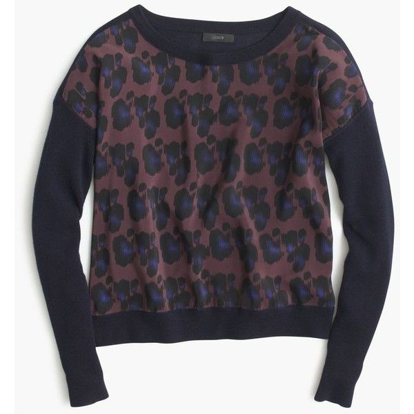 J.Crew Cobalt Leopard Sweater (220 SGD) ❤ liked on Polyvore featuring tops, sweaters, ribbed crop top, fitted sweater, cropped sweater, blue crop top and long sleeve crop top