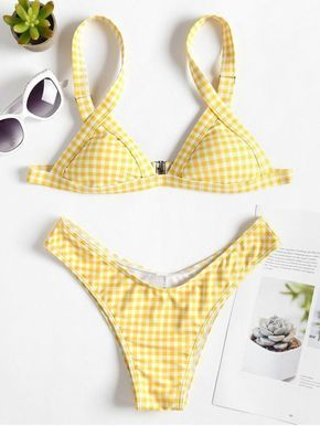 eb0de97204 High Cut Gingham Thong Bikini. Fashion and sexy two piece bathing suit  featuring a plaid pattern