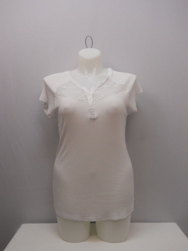 SIZE 2XL Womens Knit Henley Top NO BOUNDARIES Solid White Lace Yokes Short Sleev #NoBoundaries #KnitTop #Casual
