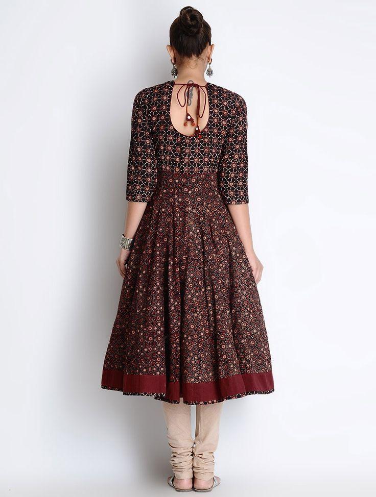 Buy Black-Maroon Ajrakh Printed Kalidar Cotton Kurta Online at Jaypore.com