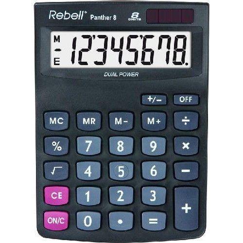 Rebell Panther 8 napelemes asztali számológép 8 számjegyes - 3 év garancia Ft Ár 2,690